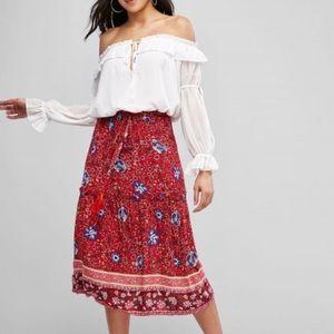 ZAFUL Tie Waist Floral Tassels Midi Skirt